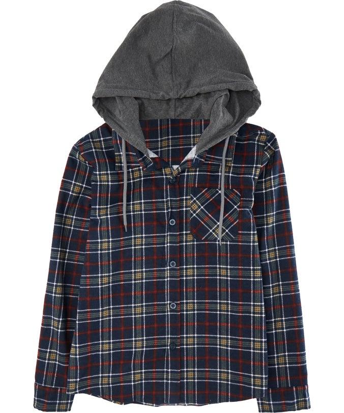 B Mini Me Hooded Flannel Shirt
