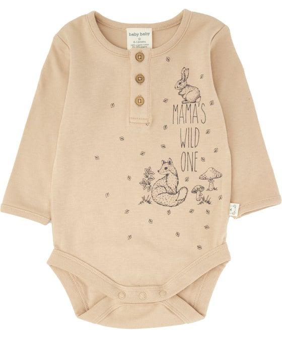Babies' Organic Henley Long Sleeve Bodysuit