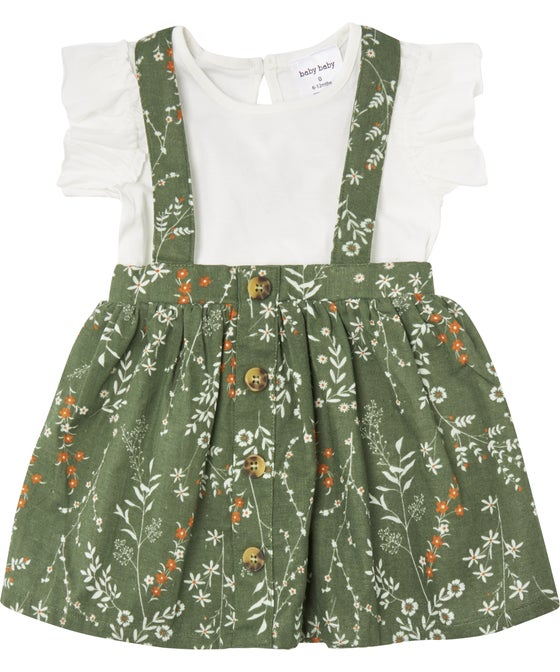Babies' 2 Piece Pinnie Dress and Tee Set