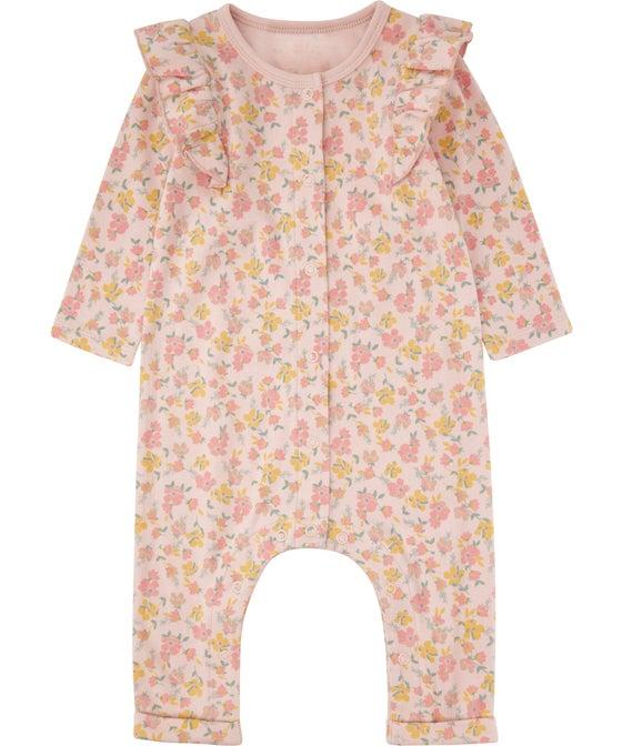 Babies' Organic Cotton Frill Sleeve Growsuit