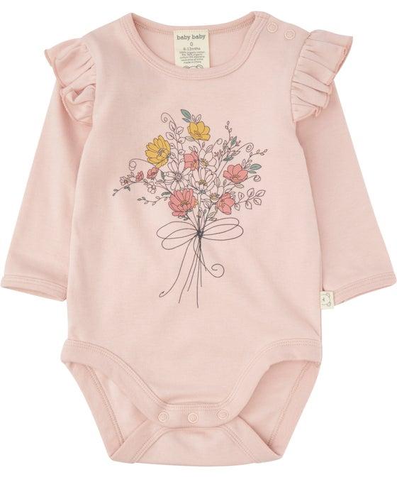 Babies' Organic Cotton Frill Shoulder Bodysuit