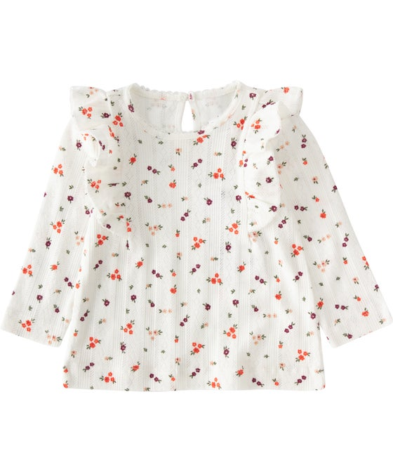 Babies' Pointelle Printed Long Sleeve Frill Top
