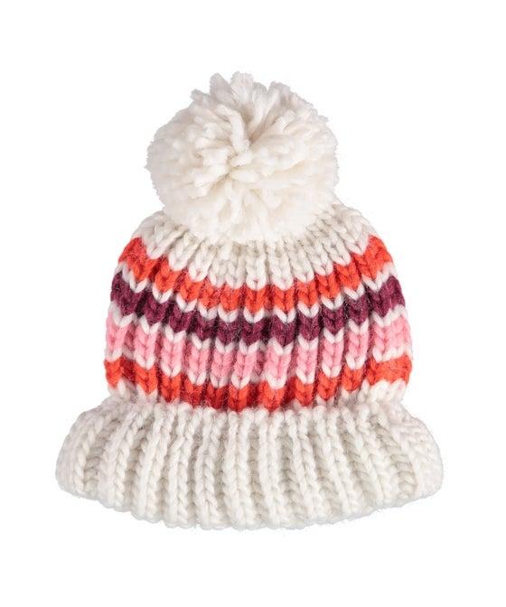Babies' Stripe Knit Pom Pom Beanie