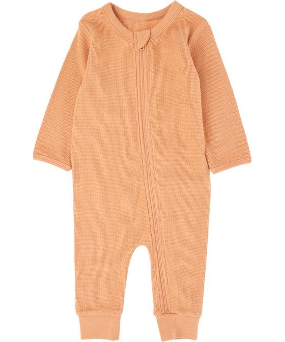 Babies' Waffle Long Sleeve Growsuit