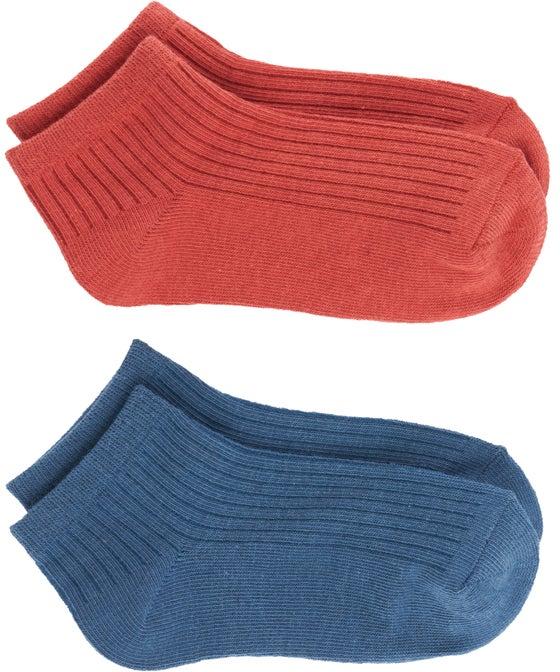 Kids 2pk Organic Cotton Rib Low Cut Sock