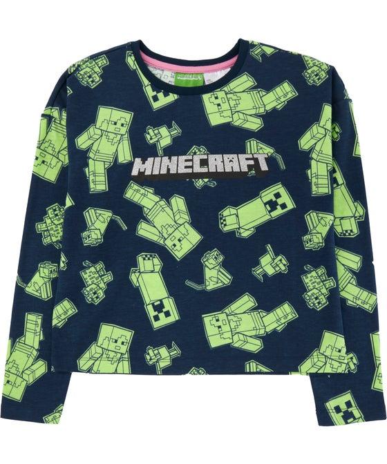 Kids' Long Sleeve Licensed Glitter Minecraft Tee