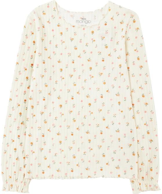 Kids' Long Sleeve Printed Rib Fashion Top
