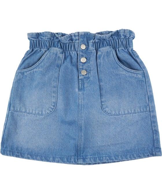 Little Kids' Paperbag Denim Skirt