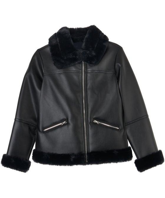 Kids' Miss Mango PU Fur Trim Biker Jacket
