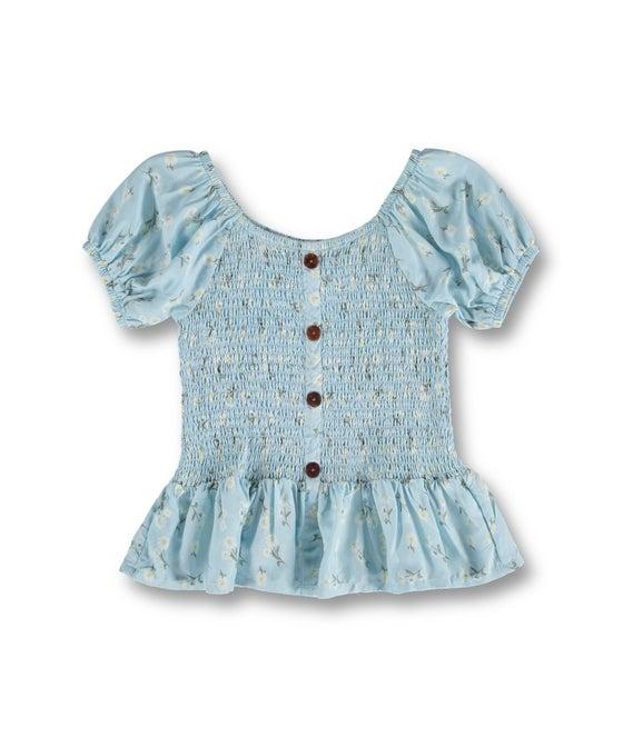 Kids' Miss Mango Short Sleeve Shirred Woven Top