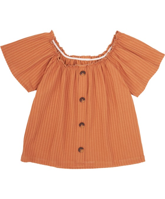 Kids' Short Sleeve Rib Button Top