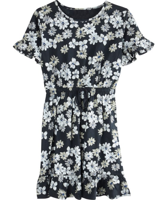 Kids' Short Sleeve Ruffle Hem Tie Waist Knit Dress