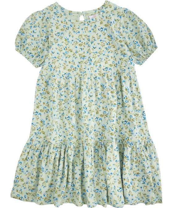 Kids' Short Sleeve Tiered Print Knit Dress