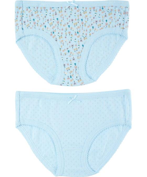 Girls' 2 Pack Pointelle Fashion Brief