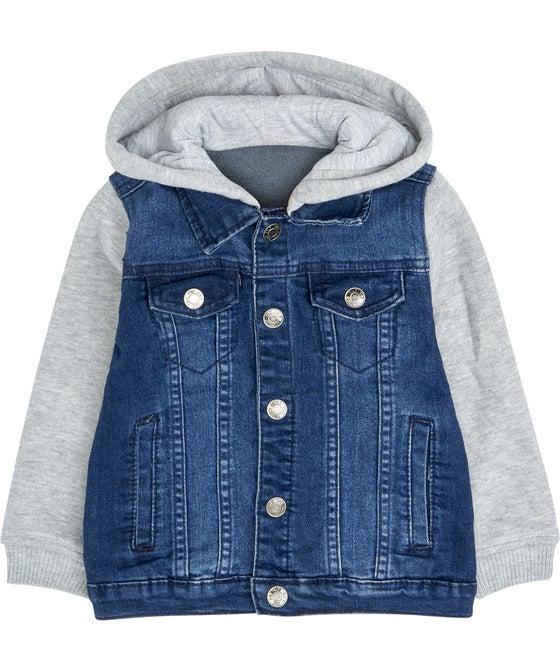 Little Kids' Hooded Denim Jacket