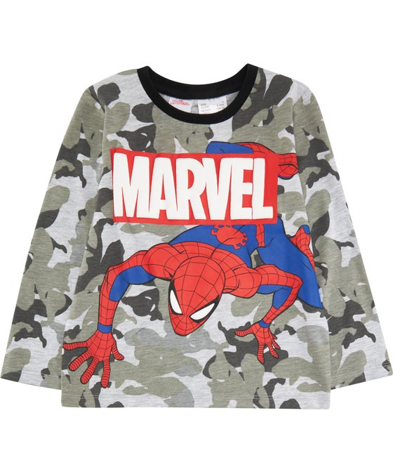 Little Kids' Long Sleeve Licensed Marvel Spidey Puff Print Tee