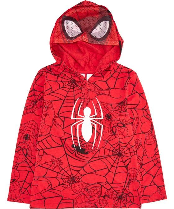 Little Kids' Long Sleeve Licensed Spiderman Mesh Hood Top