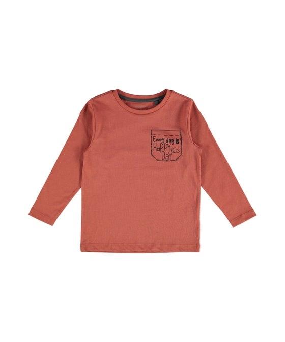 Little Kids' Long Sleeve Pocket Print Tee