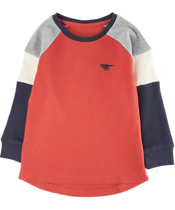 Little Kids' Panelled Waffle Knit Dino Top