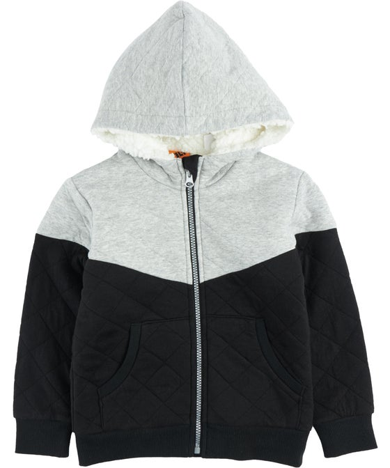 Little Kids' Spliced Quilted Sherpa Hoodie
