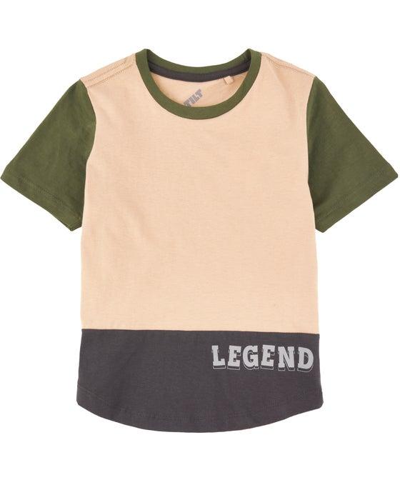Kids' Short Sleeve Panelled Slogan Tee