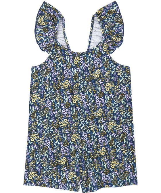 Little Kids' Frill Sleeve Printed Knit Playsuit