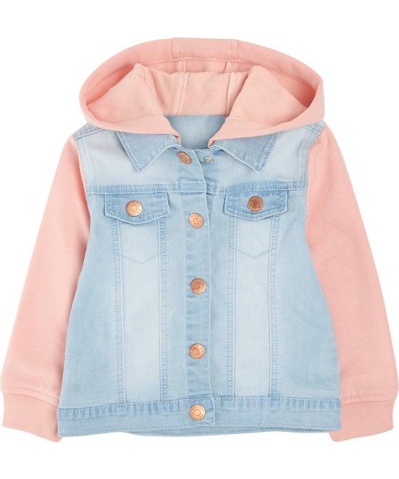Little Kids' Hooded Sweat Denim Jacket