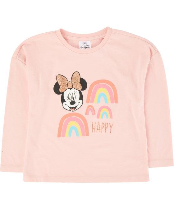 Little Kids' Licensed Minnie Long Sleeve Glitter Top