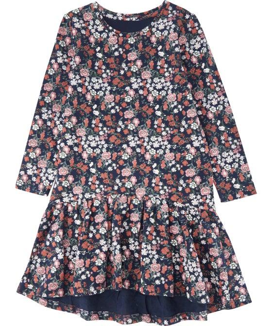 Little Kids' Drop Hem Print Knit Dress