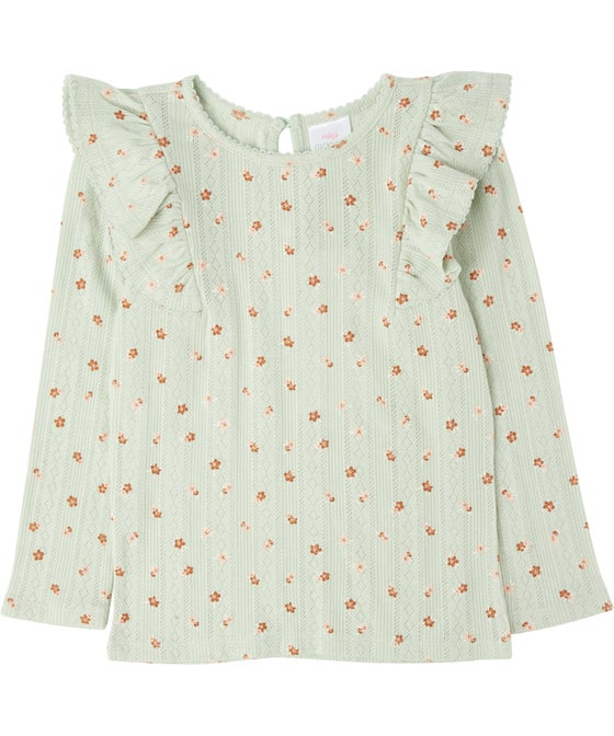 Little Kids' Printed Pointelle Frill Top