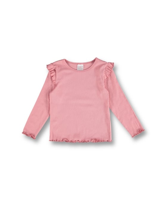 Little Kids' Long Sleeve Shoulder Frill Tex Top