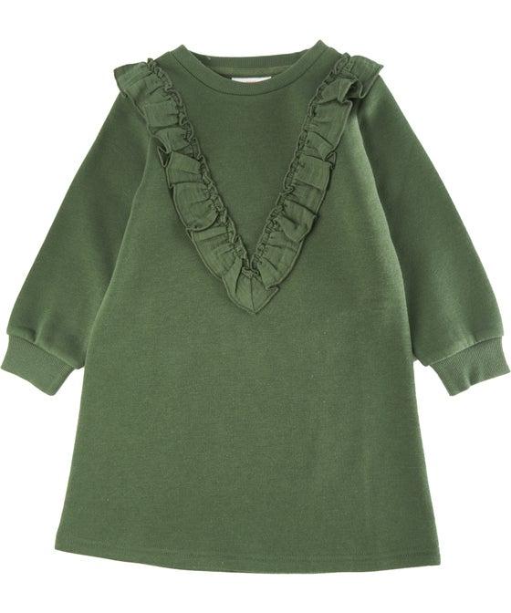Little Kids' Ruffle Detail Fleece Dress