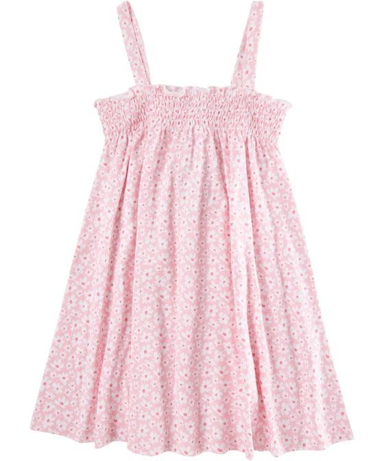 Little Kids' Shirred Bodice Knit Print Dress