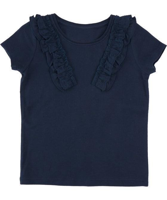 Little Kids' Short Sleeve Broderie Trim Top