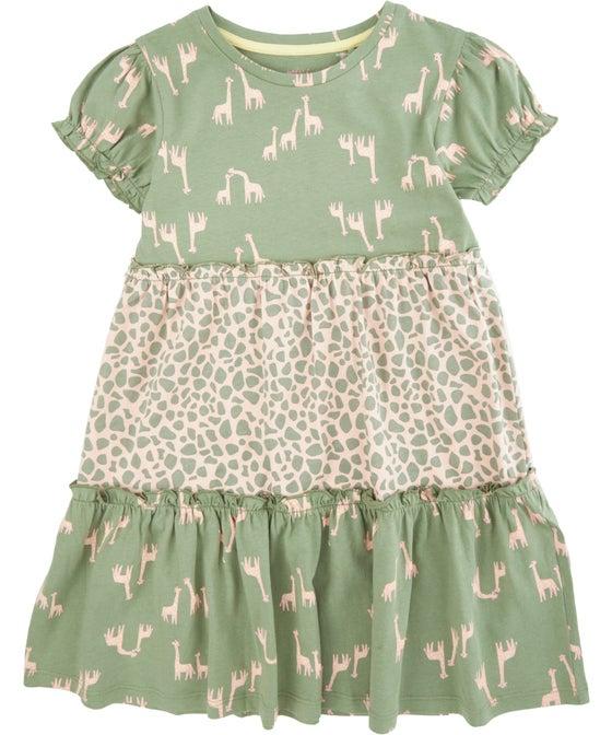 Little Kids' Short Sleeve Tiered Contrast Print Knit Dress