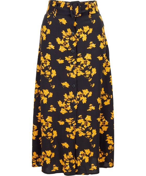 Women's All Over Print Belted A Line Skirt