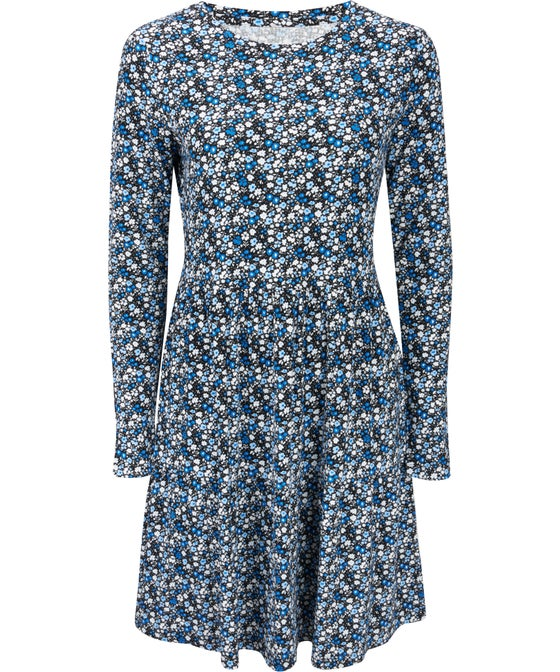 Women's All Over Print Ribbed Baby Doll Dress