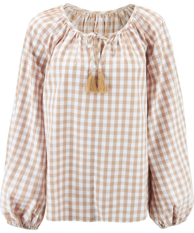 L Balloon Sleeve Cotton Top