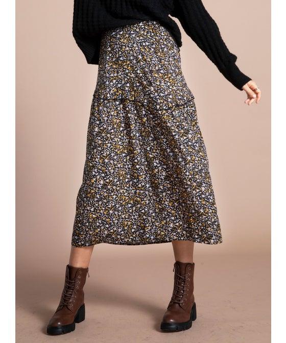 Women's Black Floral Skirt