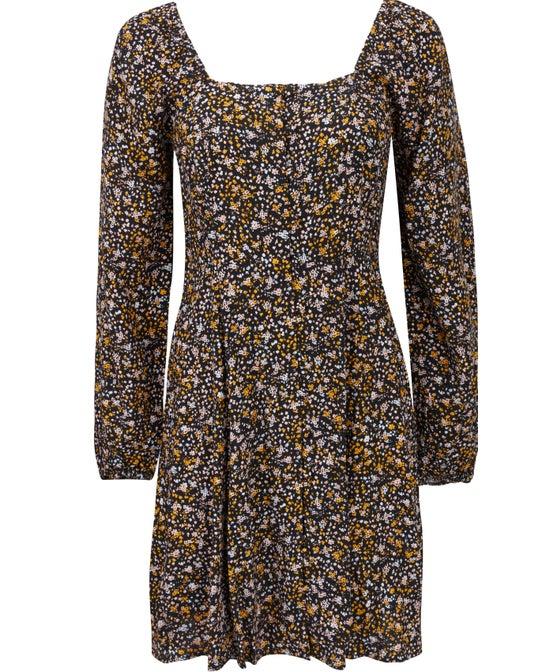 Women's Black Floral Tea Dress