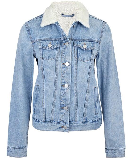 Women's Borg Collar Denim Jacket