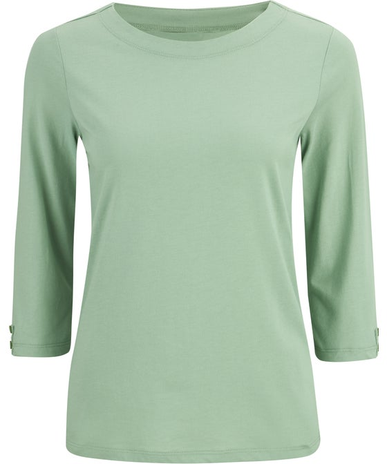 Women's Button Sleeve Boat Neck Top
