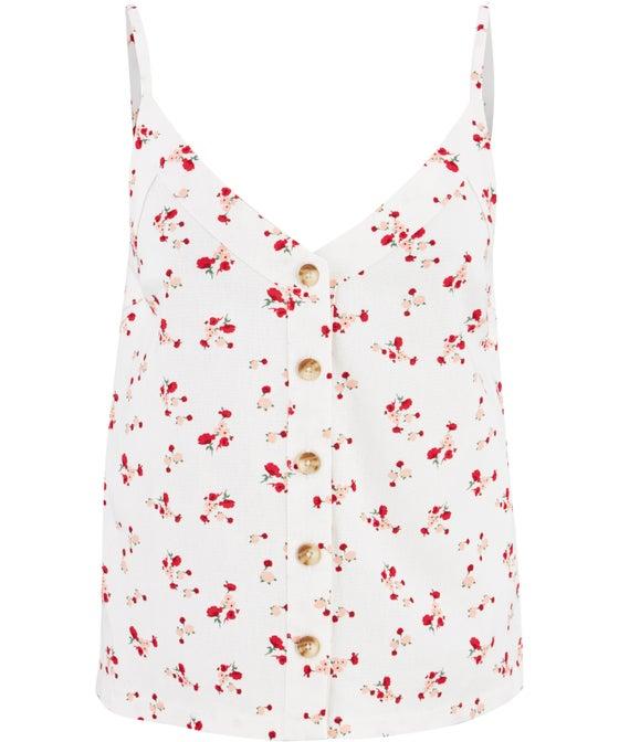 Women's Button Through Linen Blend Top