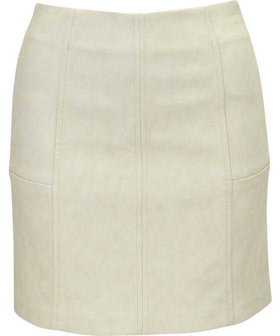 Women's Coated Leather Look Mini Skirt