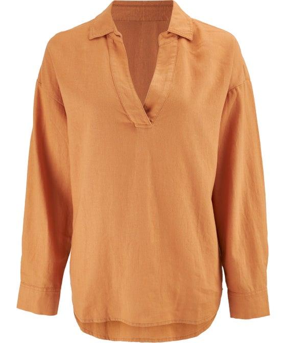 Women's Collar Linen Blend Blouse