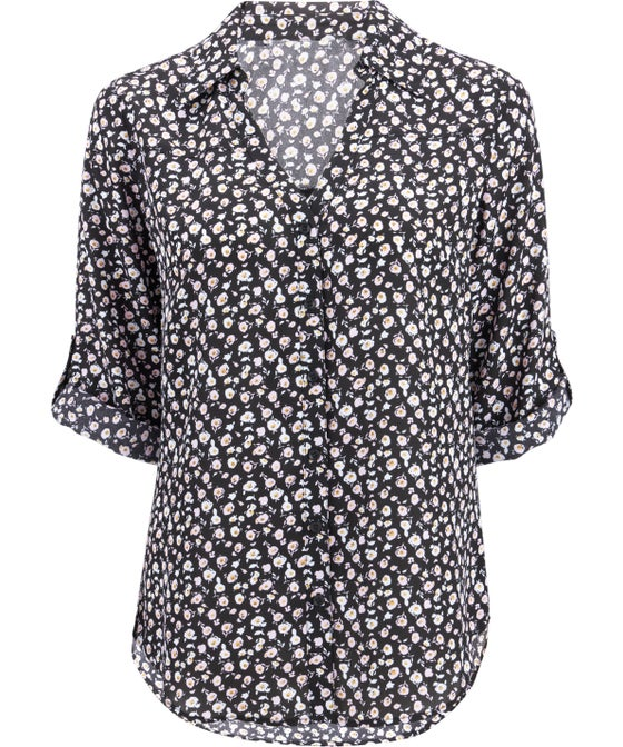 Women's Collared Roll-sleeve Blouse