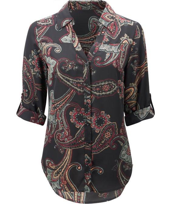 Women's Roll-sleeve Blouse
