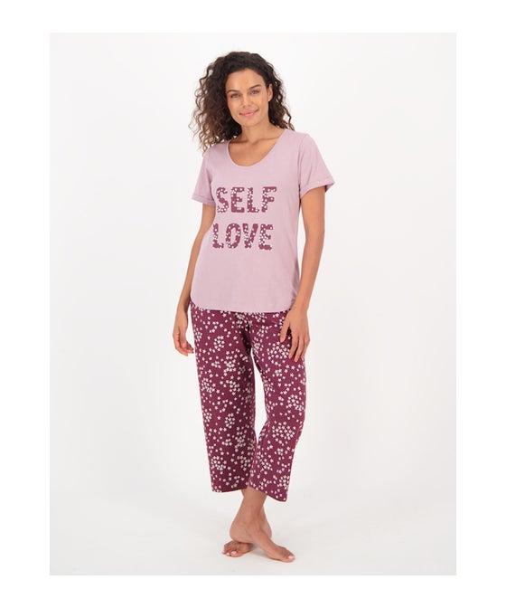 Women's Knit Crop Leg PJ Set