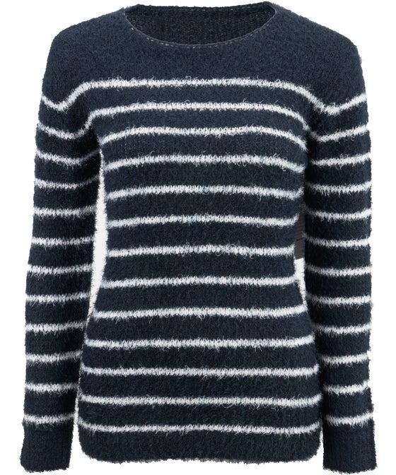 Women's Fluffy Knit Stripe Jumper