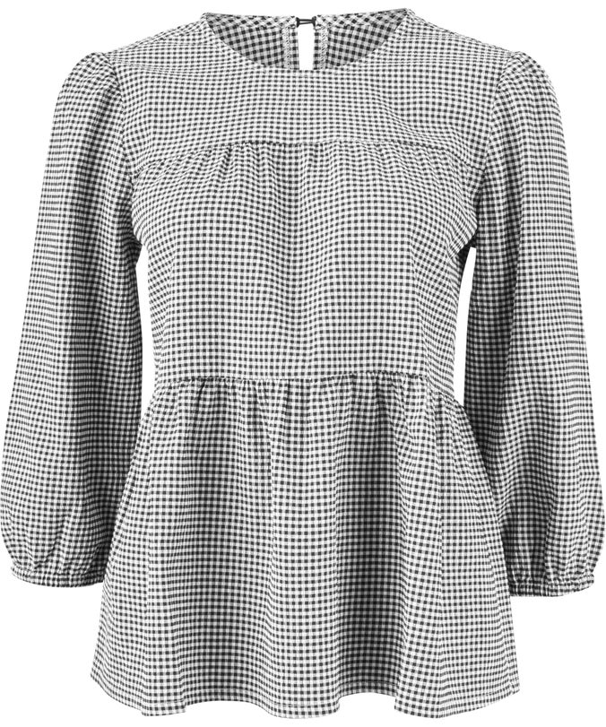 L Gingham Baby Doll Blouse